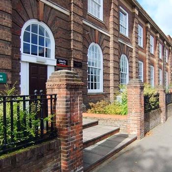 One of the entrances to Mobbs Miller House, Abington, Northampton.