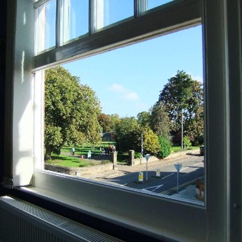 Office view to Abington Park.