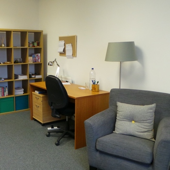 Small office space, approximately 220 sq ft. First floor office.