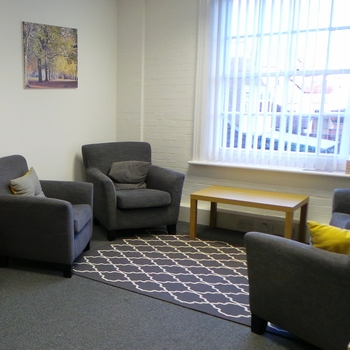 Small office space, approximately 22 sq ft. First floor office.